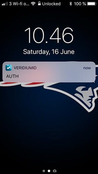 Veridium iPhone Notification